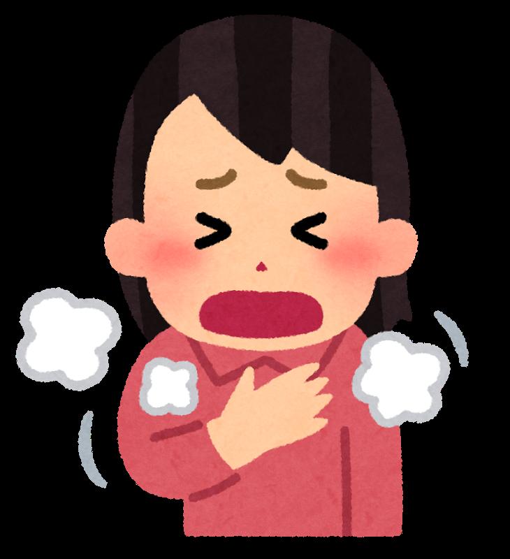 過呼吸になってしまって苦しそうに息をしている女性のイラスト