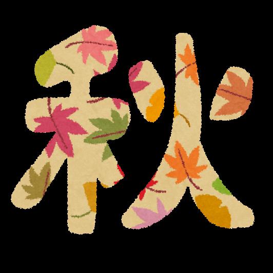 季節に会ったデザインで装飾した秋の文字イラスト